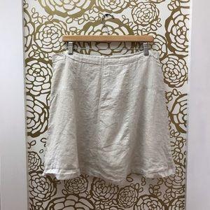 Ann Taylor LOFT Midi Linen Camel Skirt